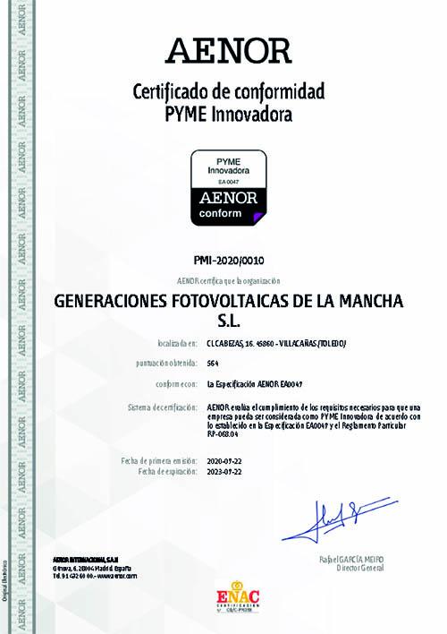 GFM, PYME Innovadora certificado AENOR